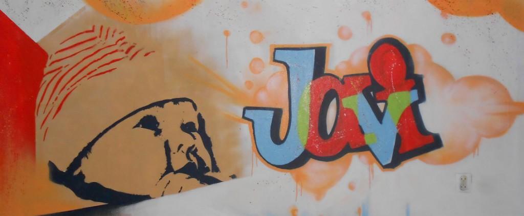 Muurschildering Javi